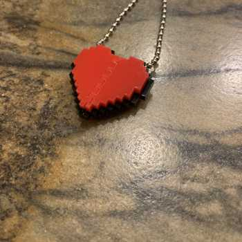 Acrylic 8-bit Heart Necklace