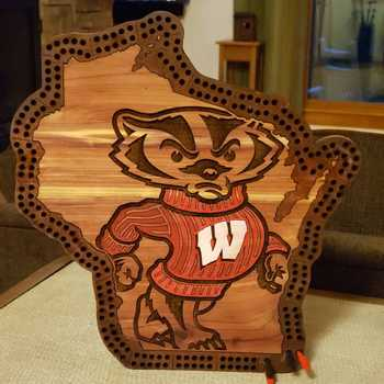 Bucky Badger Cribbage on Cedar